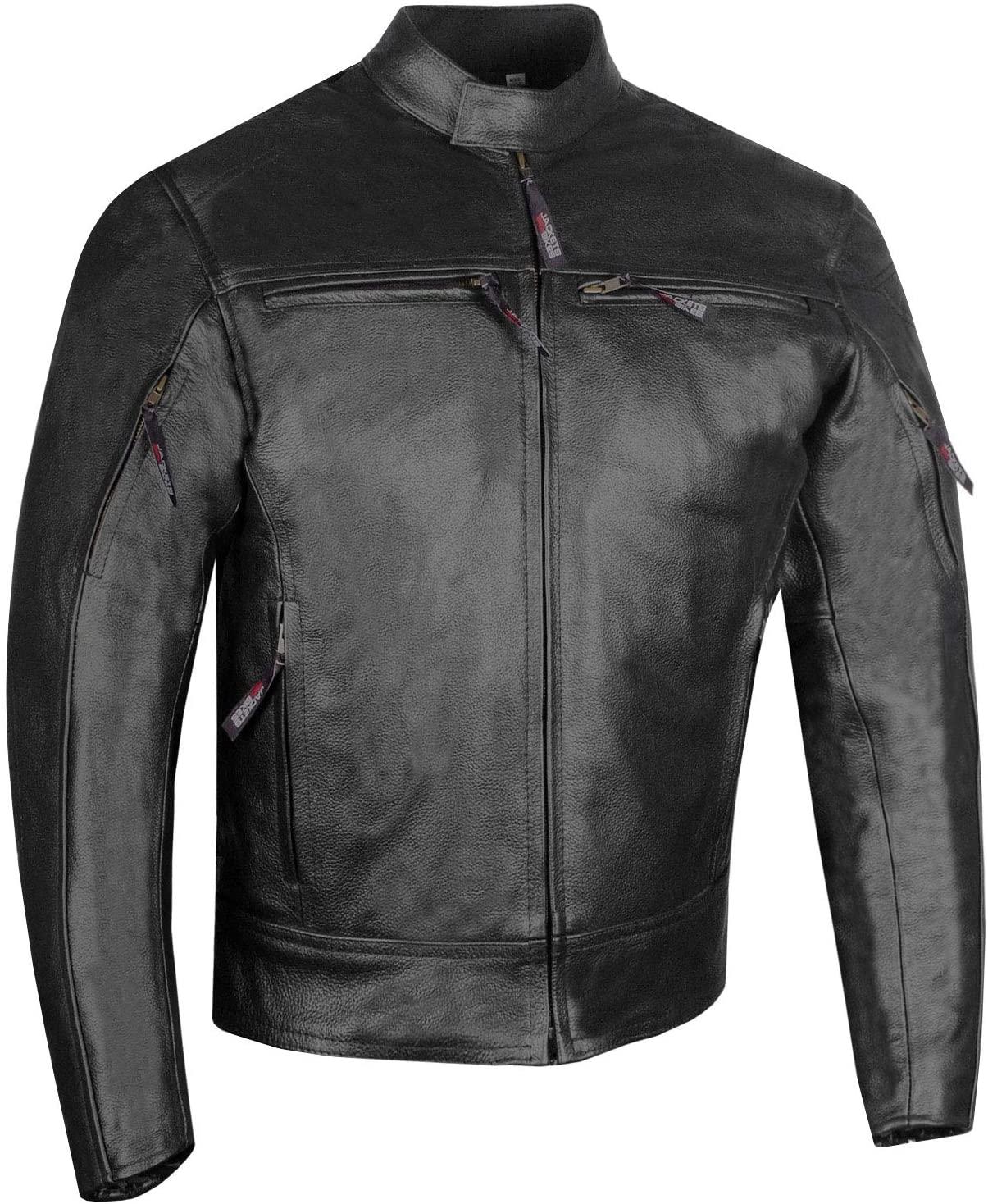Men's Raider Premium Natural Buffalo Leather Motorcycle Armor Biker Jacket M