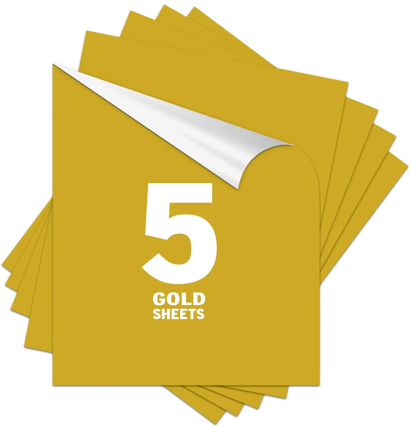 Gold HTV Heat Transfer Vinyl 12x10inch 5 Sheets Pack-Iron On Vinyl HTV on t-Shirt Bundle Assorted Pack Iron on HTV Vinyl for Silhouette Cameo, Cricut or Heat Press