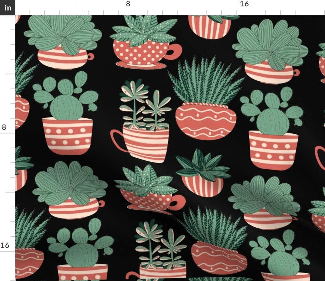 Spoonflower Fabric - Succulent Pattern Black Gardening Cactus Printed on Minky Fabric by The Yard - Sewing Baby Blankets Quilt Backing Plush Toys