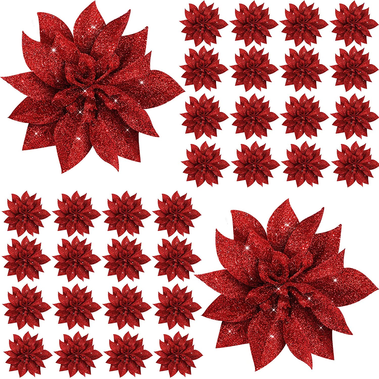 48 Pieces Christmas Glitter Flowers Artificial Poinsettia Flowers for Christmas Wreath Christmas Tree Flowers Ornaments (Red)