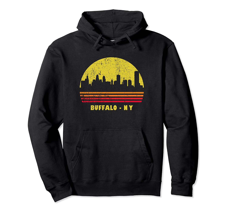 Vintage Retro Sunset Buffalo NY Shirt Skyline Gift Idea Pullover Hoodie