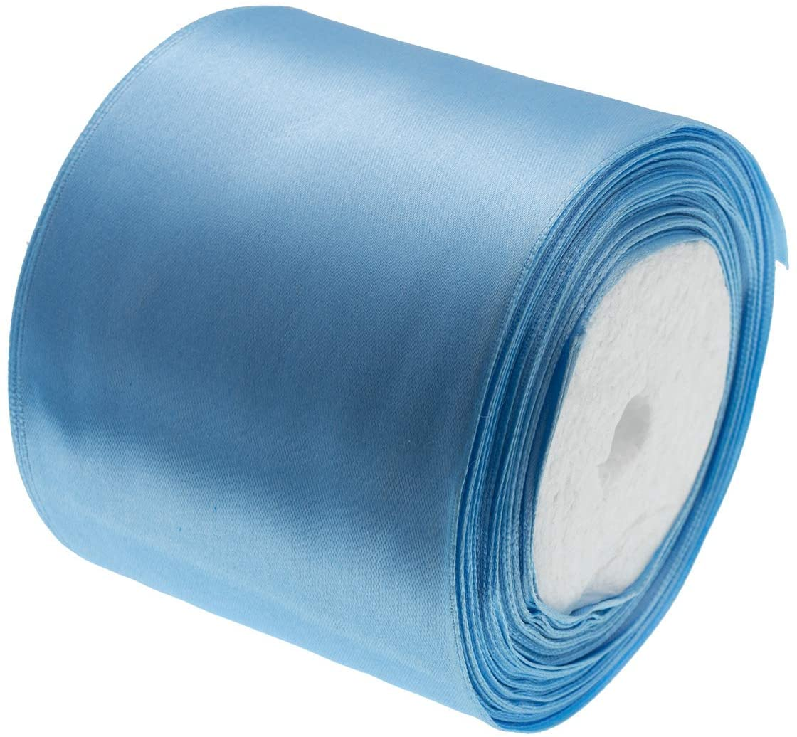 ATRibbons 25 Yards 3 Inches Wide Satin Ribbon Perfect for Wedding Satin Chair Sash and Gift Wrapping (Sky Blue)