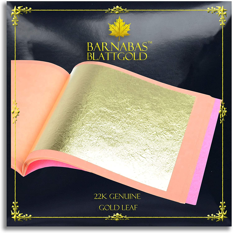 Genuine Gold Leaf Sheets 22k - by Barnabas Blattgold - 3.4 inches - 25 Sheets Booklet - Loose Leaf