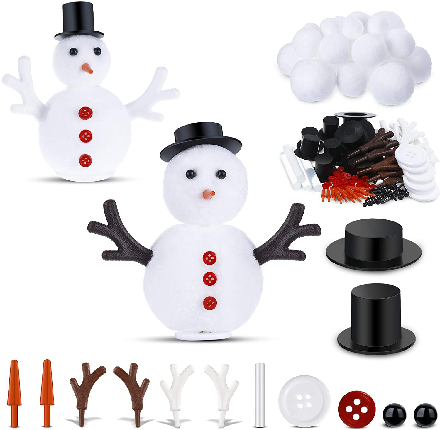 WILLBOND 138 Pieces DIY Christmas Snowman Kit Includes Mini Black Top Hats Carrot Noses Tiny Red Buttons and Mini Buckhorn for Christmas Crafting Sewing Christmas Party Supplies