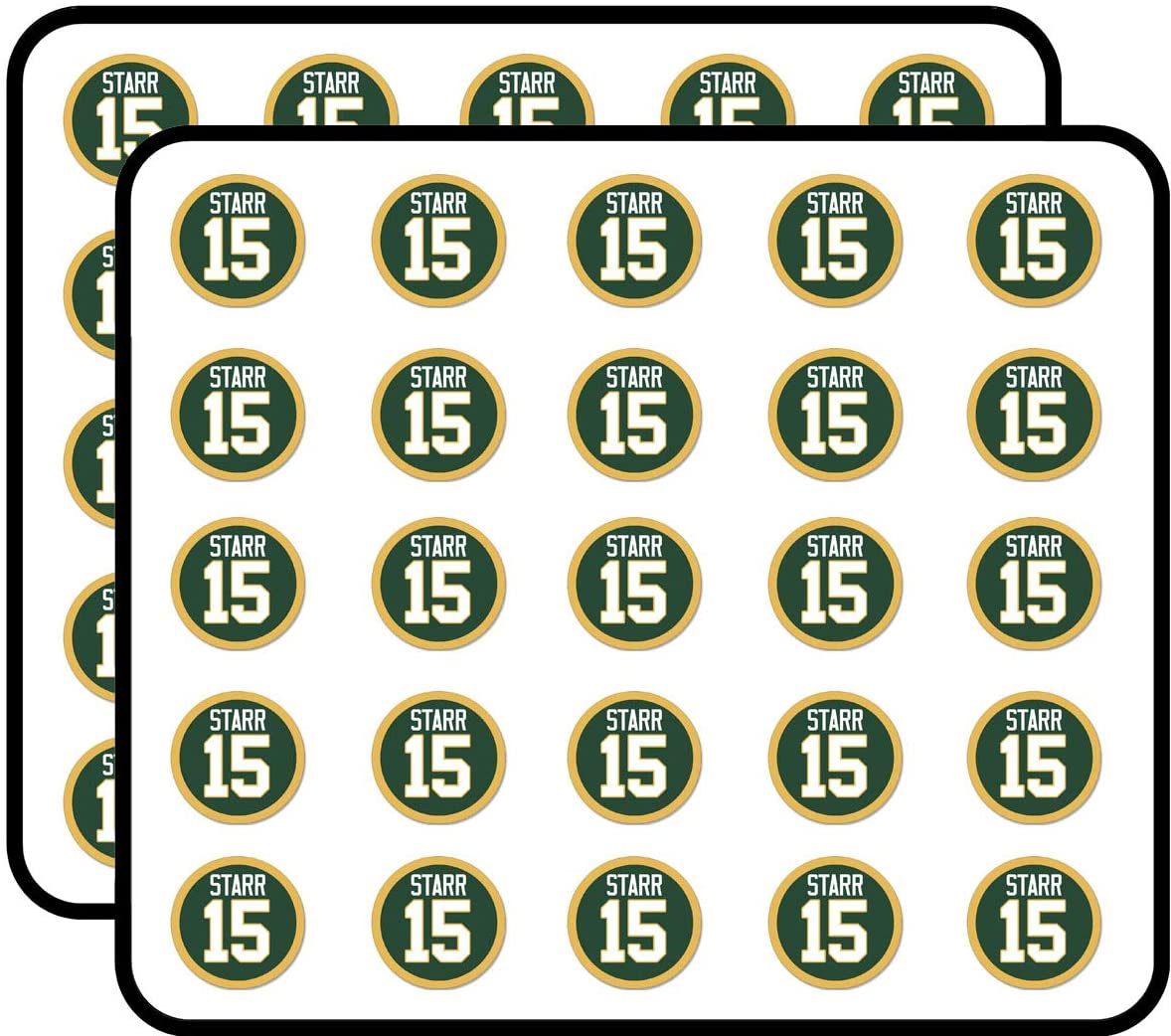Round Starr #15 - Green Bay Number Packers Football bart Sticker for Scrapbooking, Calendars, Arts, Kids DIY Crafts, Album, Bullet Journals 50 Pack