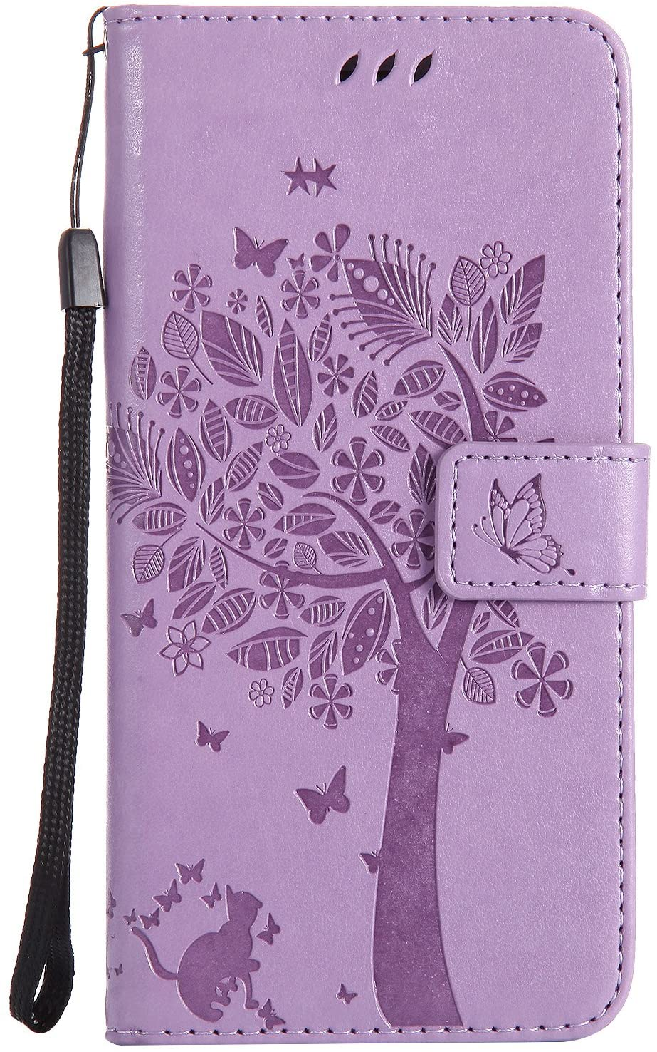 iPhone 8 Plus Case,iPhone 7 Plus Case,Wallet Case,PU Leather Case Floral Tree Cat Embossed Purse Kickstand Flip Cover Card Holders Hand Strap for iPhone 7 Plus/iPhone 8 Plus [5.5 Inch] Light Purple