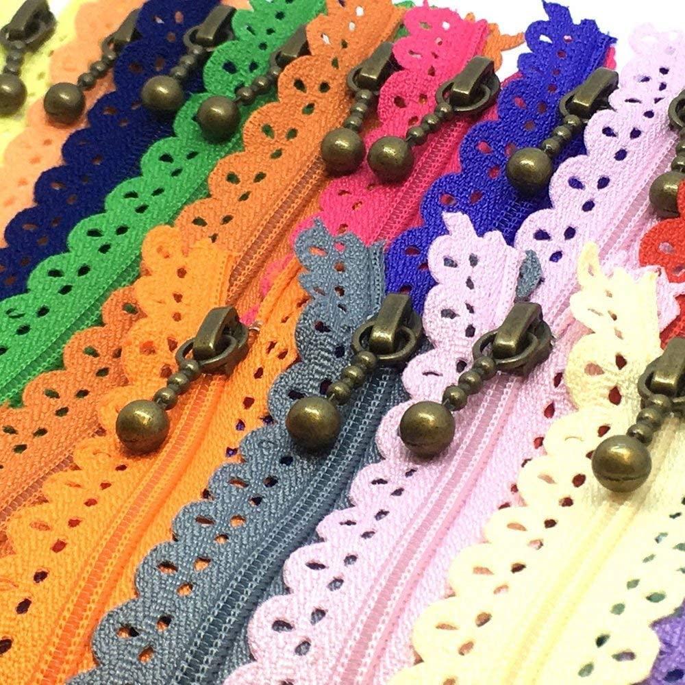 LNKA Sewing Lace Zippers 35CM(13.7inch) Novelty 20pcs/Pack 3# End Zipper DIY Nylon Coil Flower Zipper for DIY Sewing Dress Tailor Craft Bed Bag Random Color