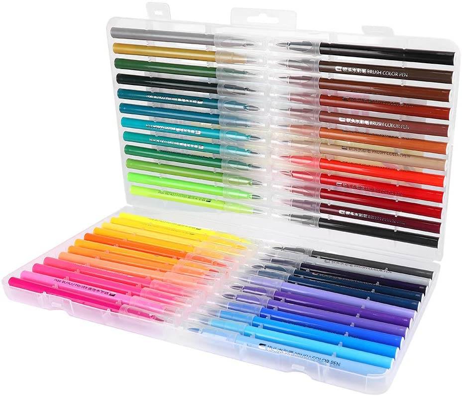 Fdit 48 Colors Markers Watercolor Drawing Painting Brush Pens Soft Tip Brush Set for Writing Calligraphy Sketching Painting Crafts