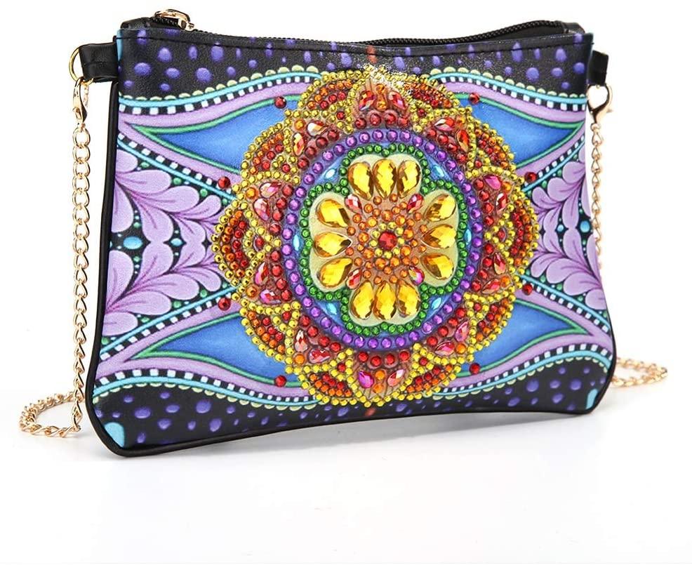 Izanus DIY Lady Handbag 5D Diamond Painting Cross Shaped Stitch with Chain Decoration Clutch Bag Coin Purse (flowerA)