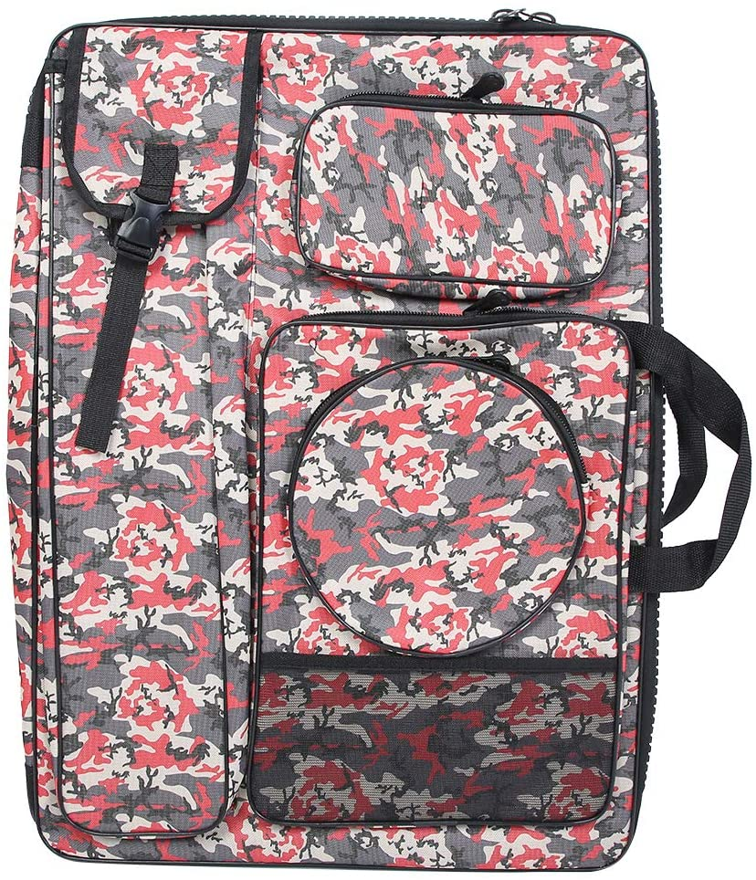 HONG111 Art Portfolio Carry Case Bag Backpack, Waterproof Sketching Sketchpad Bag Camouflage Large Zipper Drawing Board Tool Carrying Bag for Outdoor (Red Camouflage)