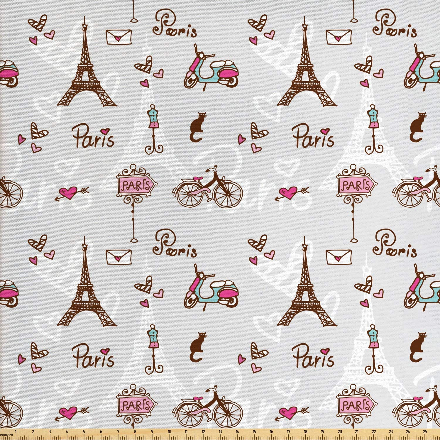 Ambesonne Paris Fabric by The Yard, Romance Language Capital of Love Eiffel Heart Fashion City Girlish Print, Decorative Fabric for Upholstery and Home Accents, 3 Yards, Redwood Pearl