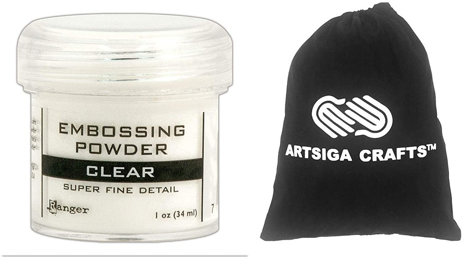 Ranger Ink Embossing Powder Super Fine Clear 1-Pack Bundled with 1 Artsiga Crafts Small Project Bag