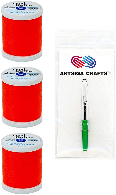 Coats & Clark Sewing Thread Dual Duty XP General Purpose Poly Thread 125 Yards (3-Pack) Neon Orange Bundle with 1 Artsiga Crafts Seam Ripper S900-9278-3P