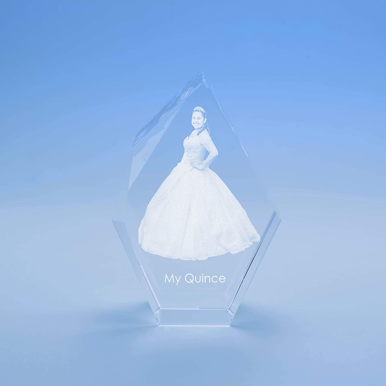 Birthday Prestige Crystal, 3D Engraved - Medium
