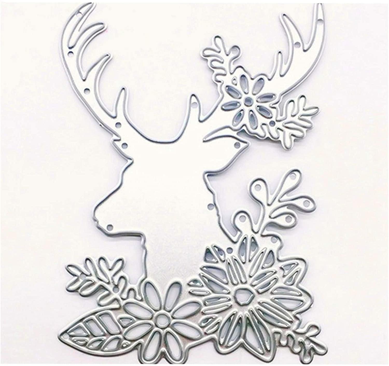Deer and Flower Metal Cutting Die Stencil Template Christmas Halloween Birthday Wedding DIY Crafts Scrapbook Album Paper Card Handmake Embossing(Deer and Flower)