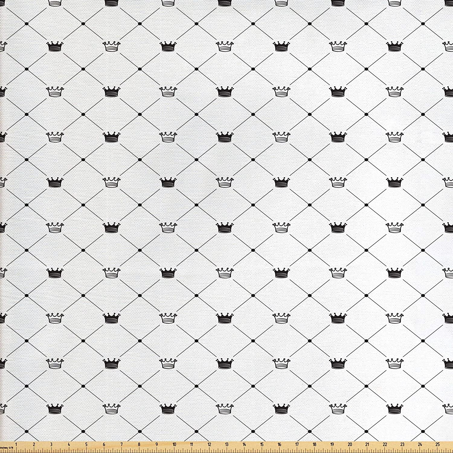 Ambesonne Abstract Fabric by The Yard, Kings Crown Classic Empire Royal on Contemporary Simplistic Display, Decorative Fabric for Upholstery and Home Accents, 1 Yard, Black White