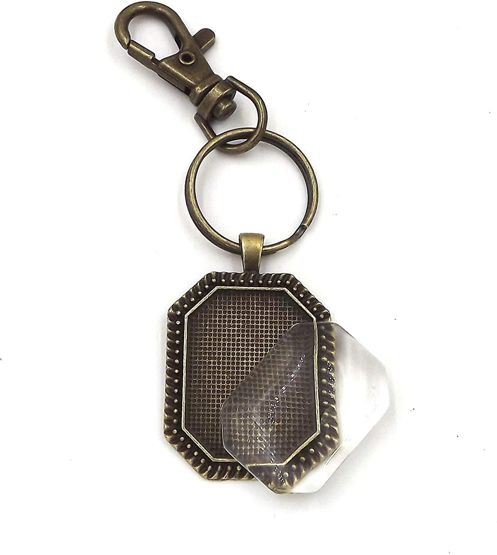 24 Deannassupplyshop 22X30mm Octagonal Pendant Trays with Key Chain with Glass- Antique Bronze - 22X30mm- Pendant Blanks Cameo Bezel Settings Photo Jewelry - Custom Jewelry Making