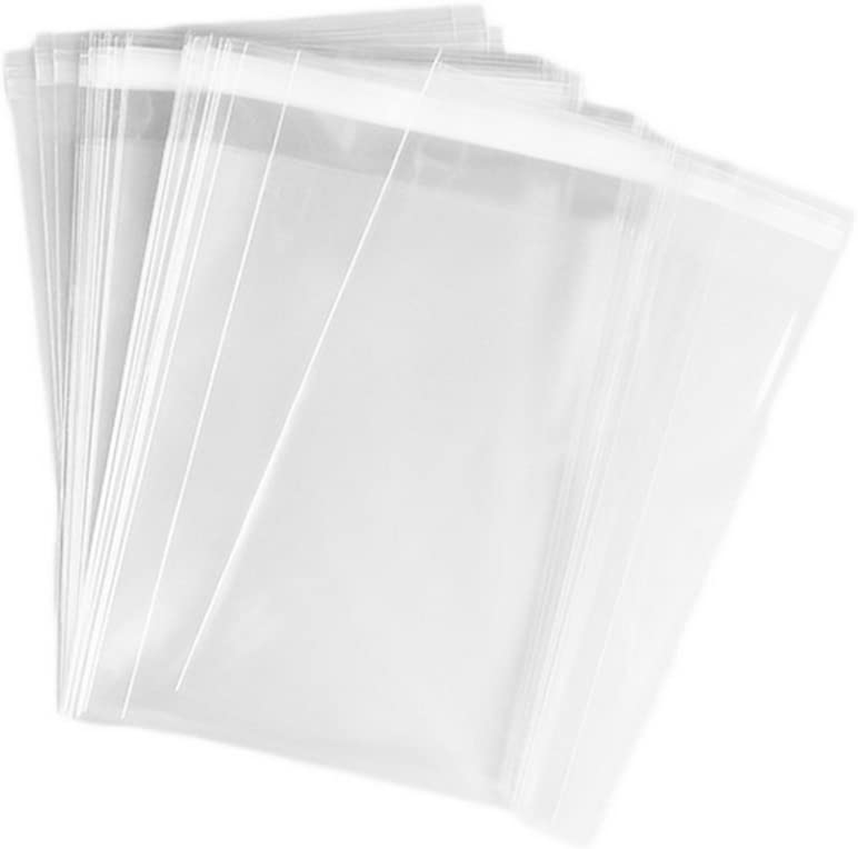 100Pcs Clear Automatic Sealing Flat Cello/Cellophane Treat Bag Packaging Bags with Adhesive Closure Good for Snacks Bakery Cookies Candies (11