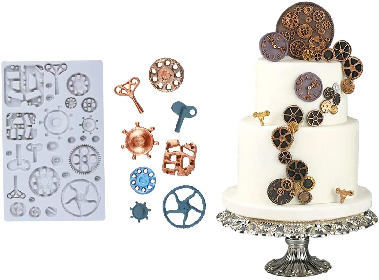 Tangker Steampunk Cogs Mold Clock Wheel Gears Silicone Fondant Mold Chocolate Cake Decorating Mold Resin Clay Making Tools