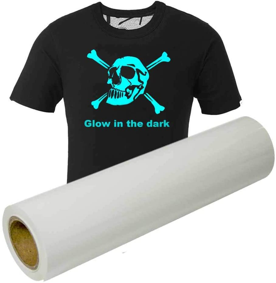Glow in The Dark HTV Roll Heat Transfer Vinyl for T-Shirts Iron-on Heat Press 12 Inches x 10 Feet (Luminous Blue)