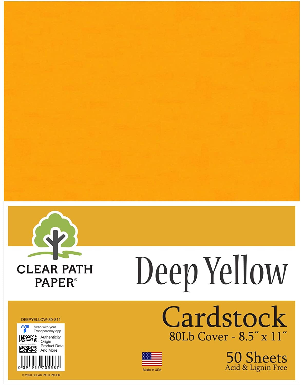 Deep Yellow Cardstock - 8.5 x 11 inch - 80Lb Cover - 50 Sheets - Clear Path Paper