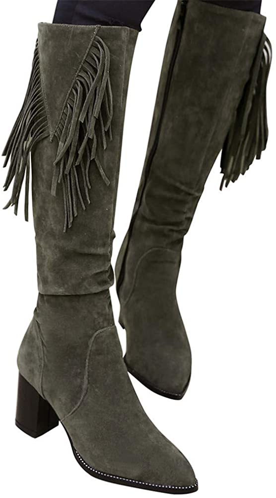 Gibobby Booties for Women Low Heel,Winter Over Knee Long Boots Fashion Boots Flat Heels Autumn Round Toe Comfort Fringe Shoes