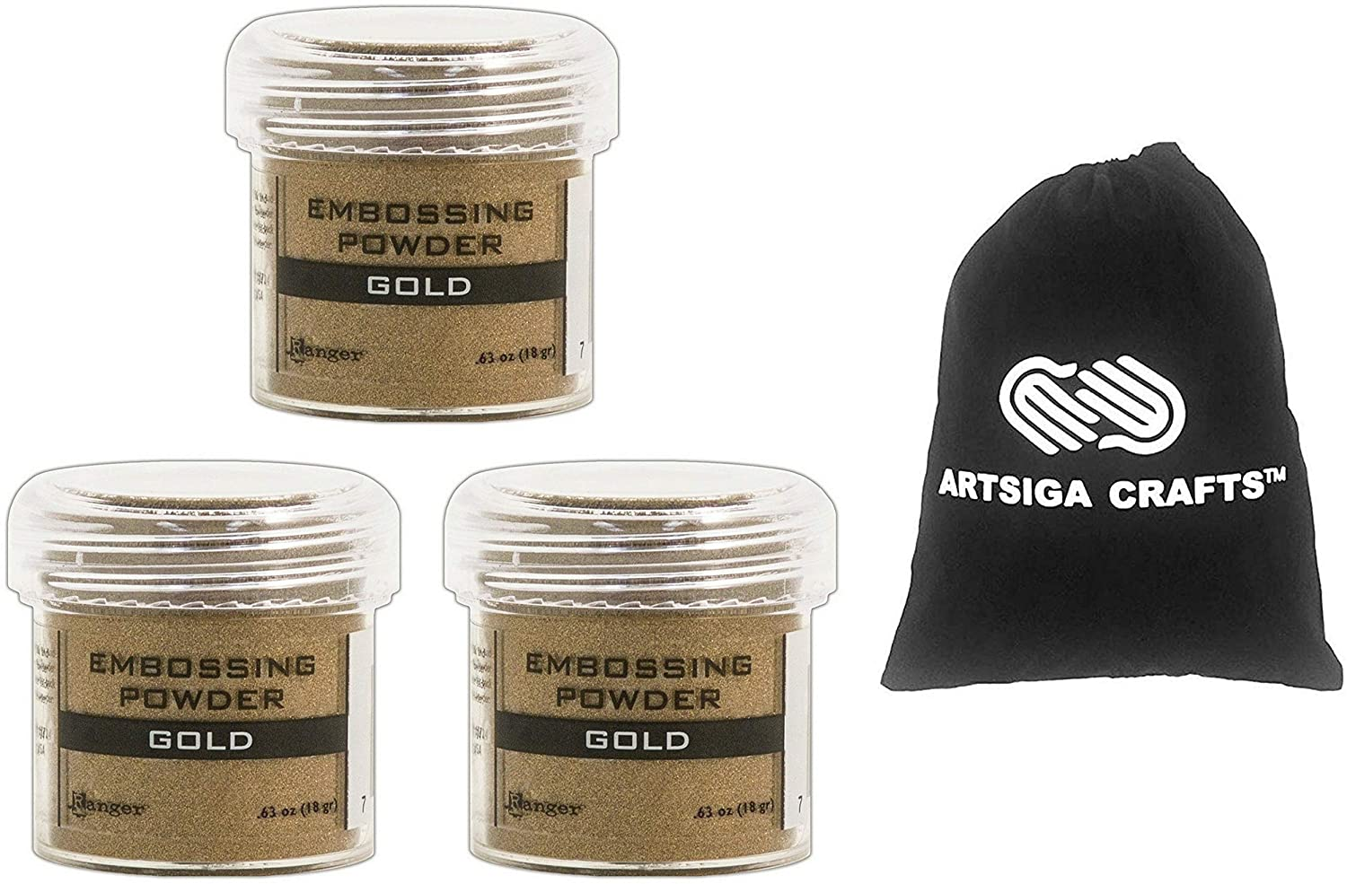 Ranger Ink Embossing Powder Gold 3-Pack Bundled with 1 Artsiga Crafts Small Project Bag