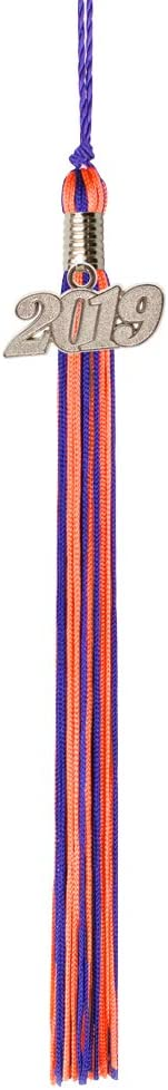 Class Act Graduation Purple and Apricot Graduation Tassel with 2019 Silver Charm