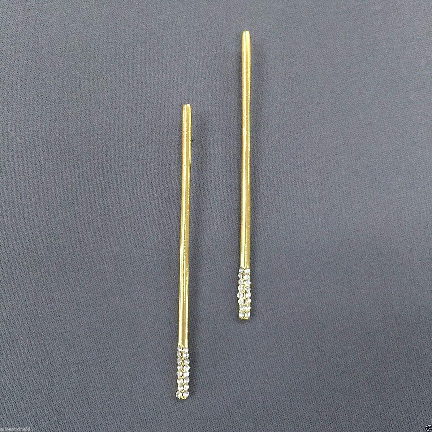 Earrings - Jewelry - for Women - Elegant - Gold Finish Thin Cylinder Shaped with Rhynestone Tip