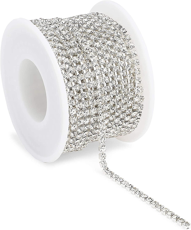 Silver Mesh Ribbon Chains for Wreaths, 3 mm Rhinestone Wraps (10 Yards)