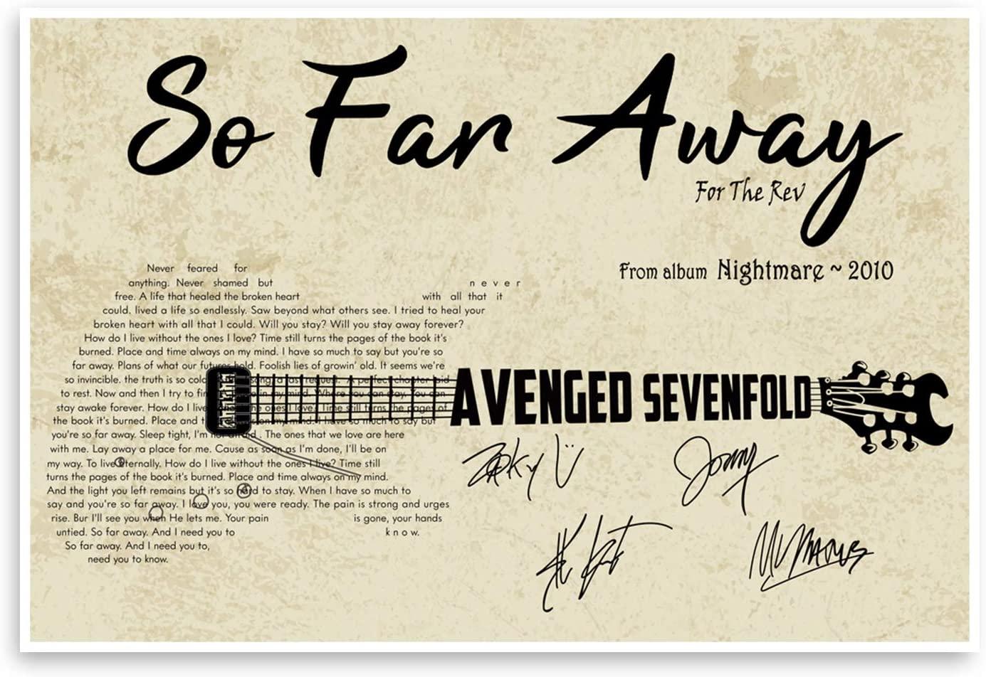 DesDirect2 Store So Far Away Avenged Sevenfold Lyric Print Poster White - Satin Portrait Poster Wall Art Home