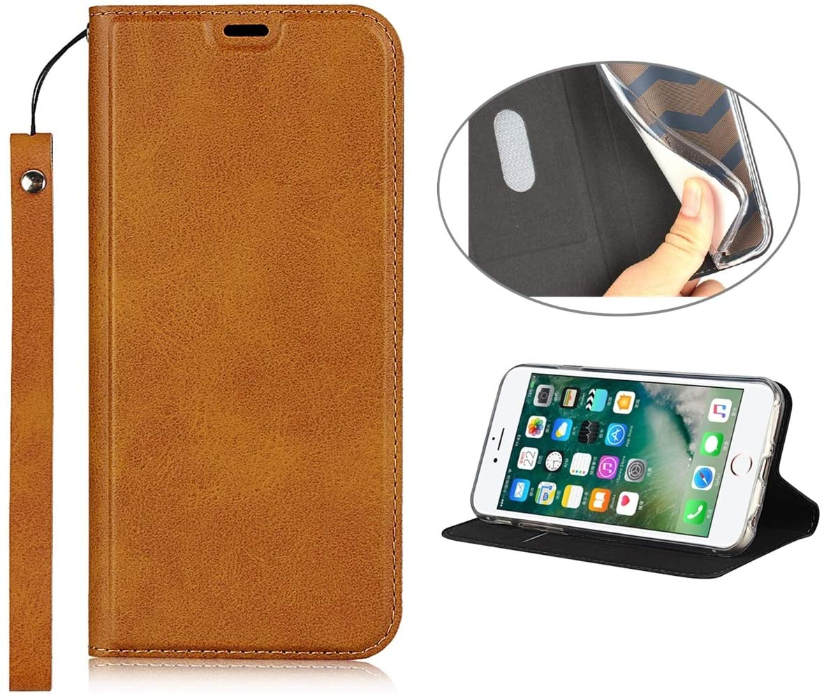 iPhone 11 Pro Max Case with Wrist Strap,Jaorty Classic PU Leather Wallet Case Slim Flip Folio with Card Holder,Kickstand Feature Magnet Closure Case Cover for iPhone 11 Pro Max,Khaki