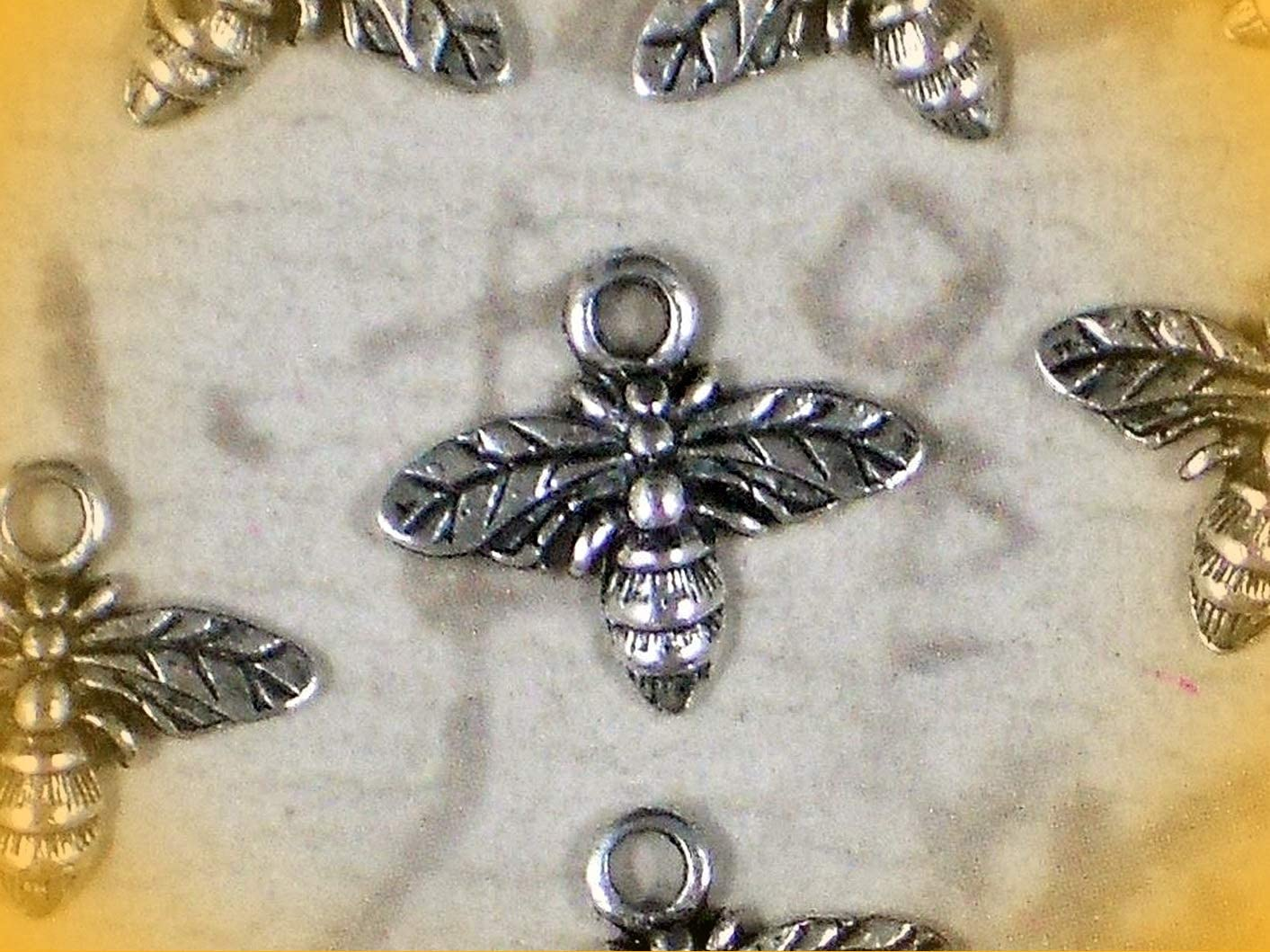16 Honey BEE Charms Silver Tone 13mm x 15mm Antiqued Adorable Charms and More for Your own Designs by CharmingStuffS