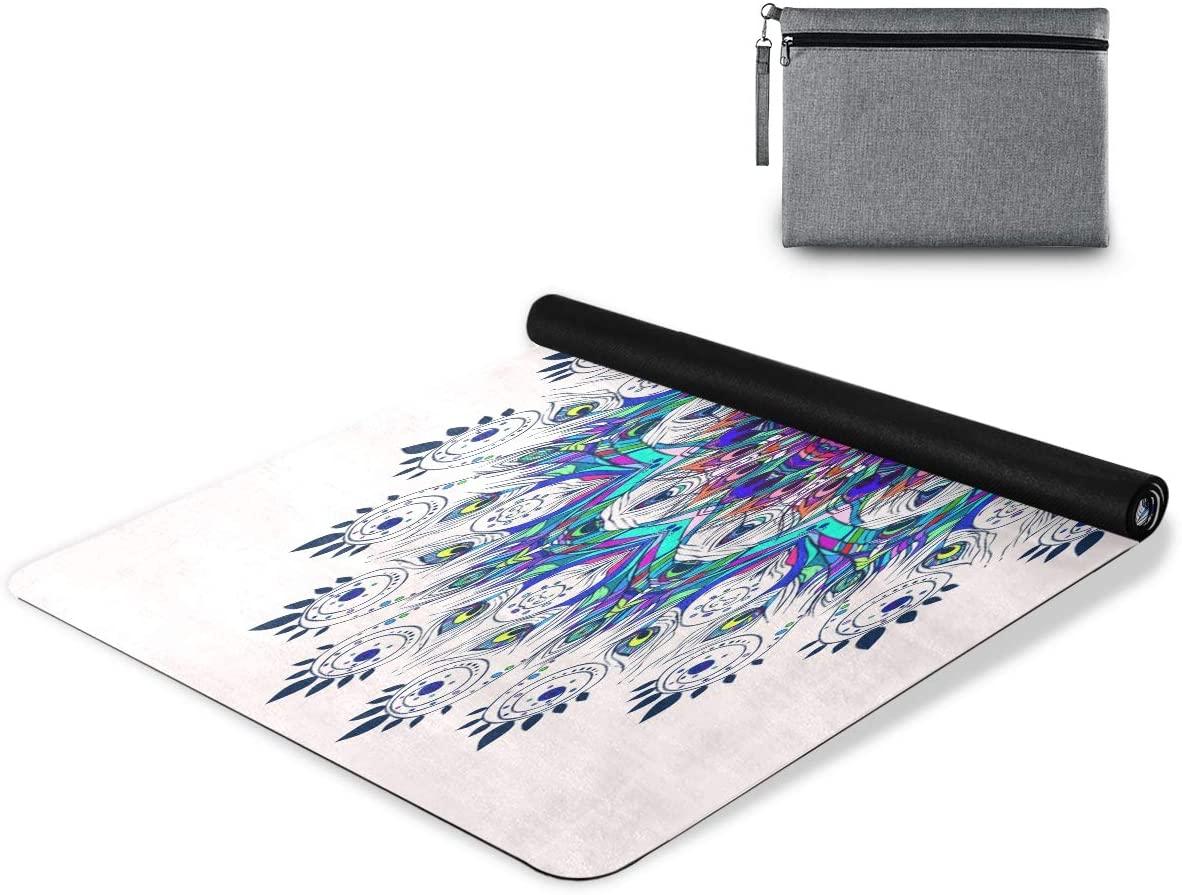 Qilmy Mandala Yoga Mat Non Slip Foldable Sweat Absorbent Yoga Towel for All Types of Yoga Pilates Bikram Floor Workouts 72 x 26 Inch