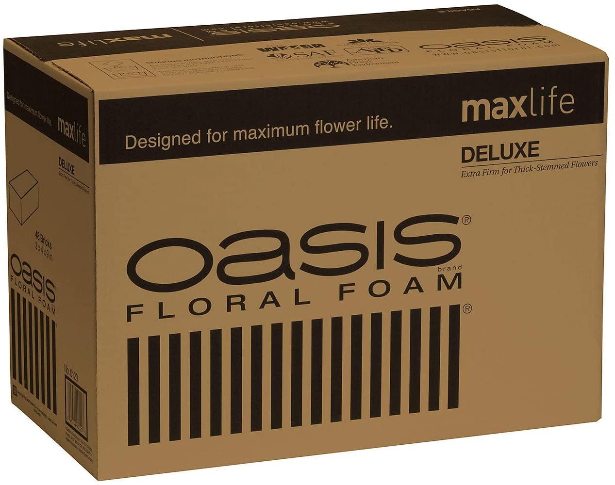 Oasis Deluxe Floral Foam Bricks - Case of 48 - Maxlife Floral Foam - Wet Floral Foam Bricks for Flower Arranging
