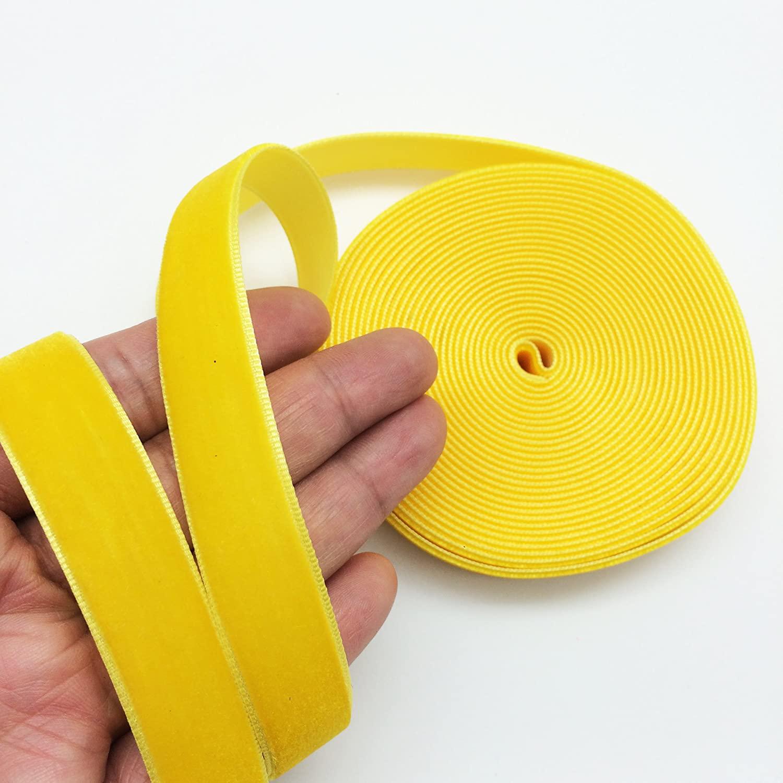 PEPPERLONELY 5 Yards Single Face Velvet Ribbon 16mm (5/8 Inch), Gold