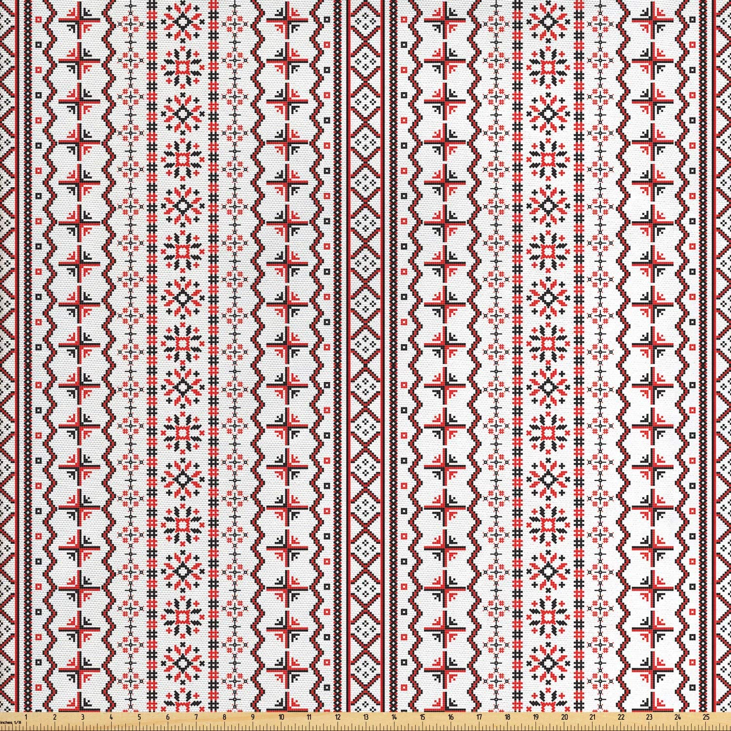Lunarable Traditional Fabric by The Yard, Classic Eastern European Romanian Pattern with Snowflakes Chevrons Pixel Design, Decorative Fabric for Upholstery and Home Accents, 3 Yards, Black Red