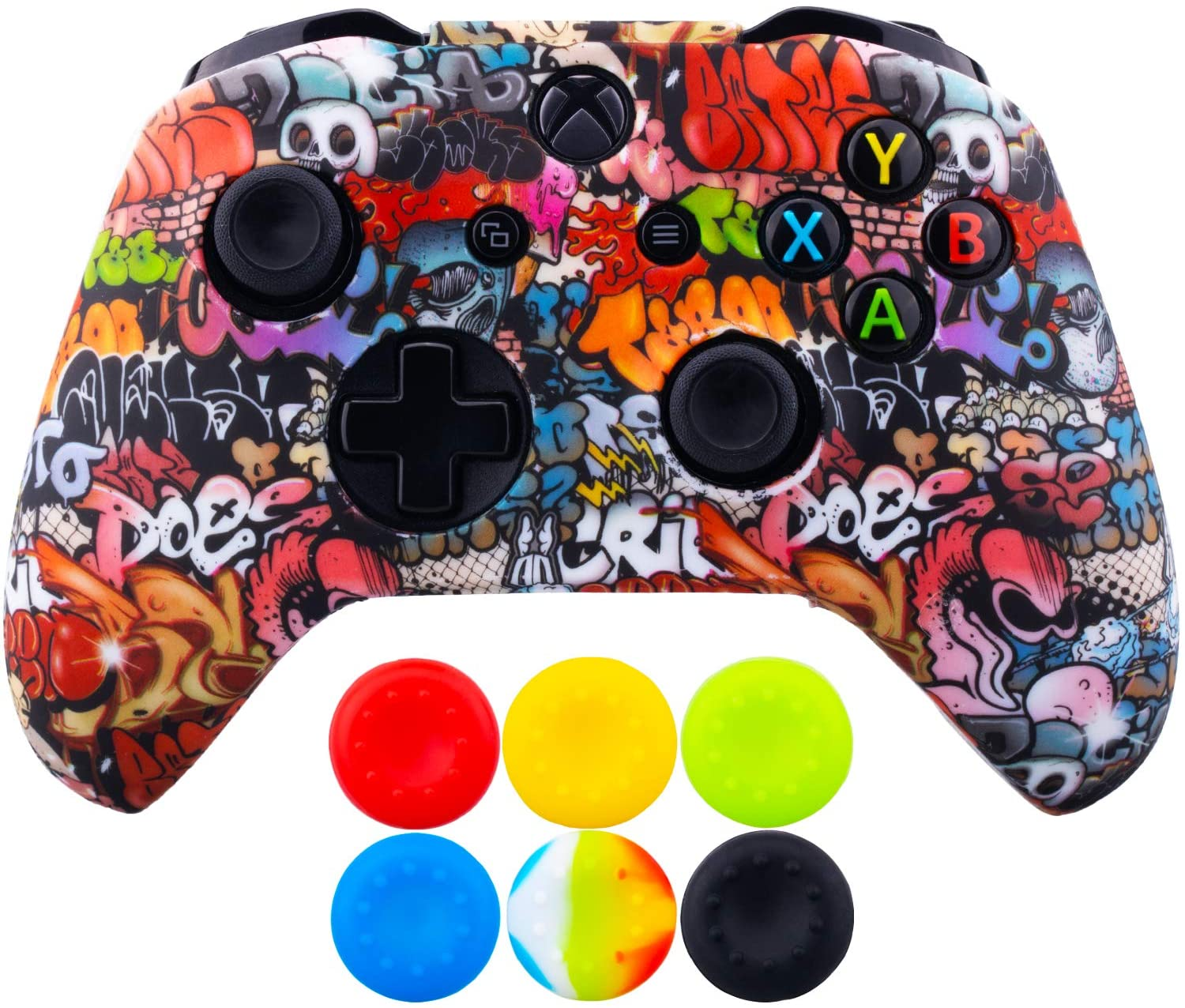 9CDeer 1 Piece of SiliconeTransfer Print Protective Cover Skin + 6 Thumb Grips for Xbox One/S/X Controller Small Skulls