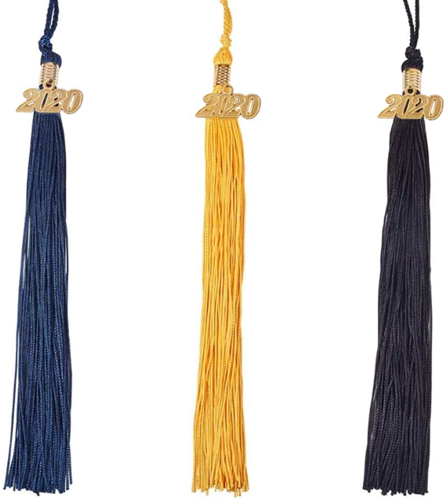 WANDIC Graduation Tassels, 6 Pcs 3 Colors Graduation Cap Tassels Academic Gown Tassels with Removable 2020 Charm for Bachelor Hat and Craft Projects
