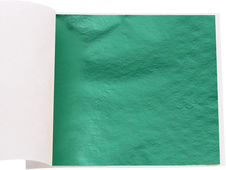 Imitation Gold Leaf Sheets Metal Leaf Papers Faux Gold Leaf Sheets 100 Sheets (Cyanblue)