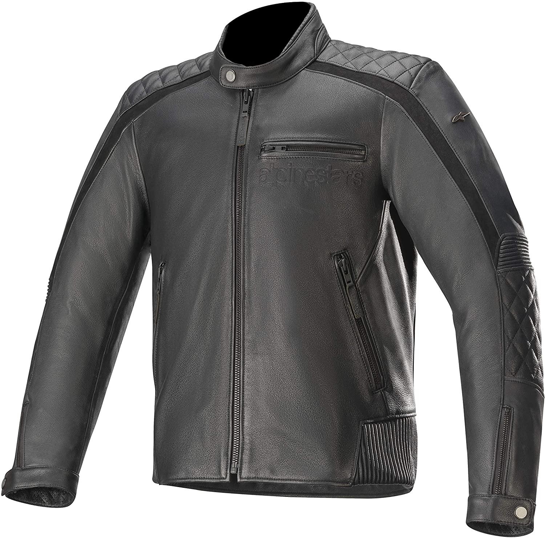 Alpinestars Men's Hoxton V2 Leather Motorcycle Jacket, Black, 48
