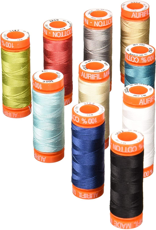 BasicGrey Thread Up With Grunge Aurifil Thread Kit 10 Small Spools 50 Weight BG50GC10,Assorted