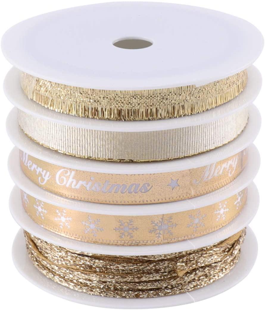 KESYOO 5Pcs Christmas Ribbons Grosgrain Silk Satin Ribbon Roll Curling Gift Wrap Ribbon Wedding Balloon Crimps Ribbon Decor for for DIY Craft Party 25m (Golden)