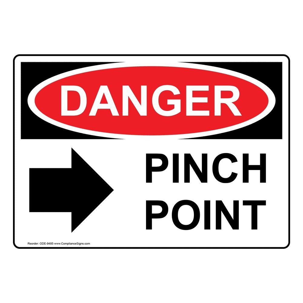 Danger Pinch Point OSHA Safety Label Decal, 5x3.5 in. 4-Pack Vinyl by ComplianceSigns