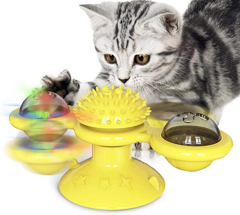 Heitaisi Windmill Cat Toy with Led Ball and Catnip Ball, Cat Turntable Teasing Interactive Toy, Funny Kitten Windmill Ball, Cat Self Groomer for Cat Massage Scratching Tickle