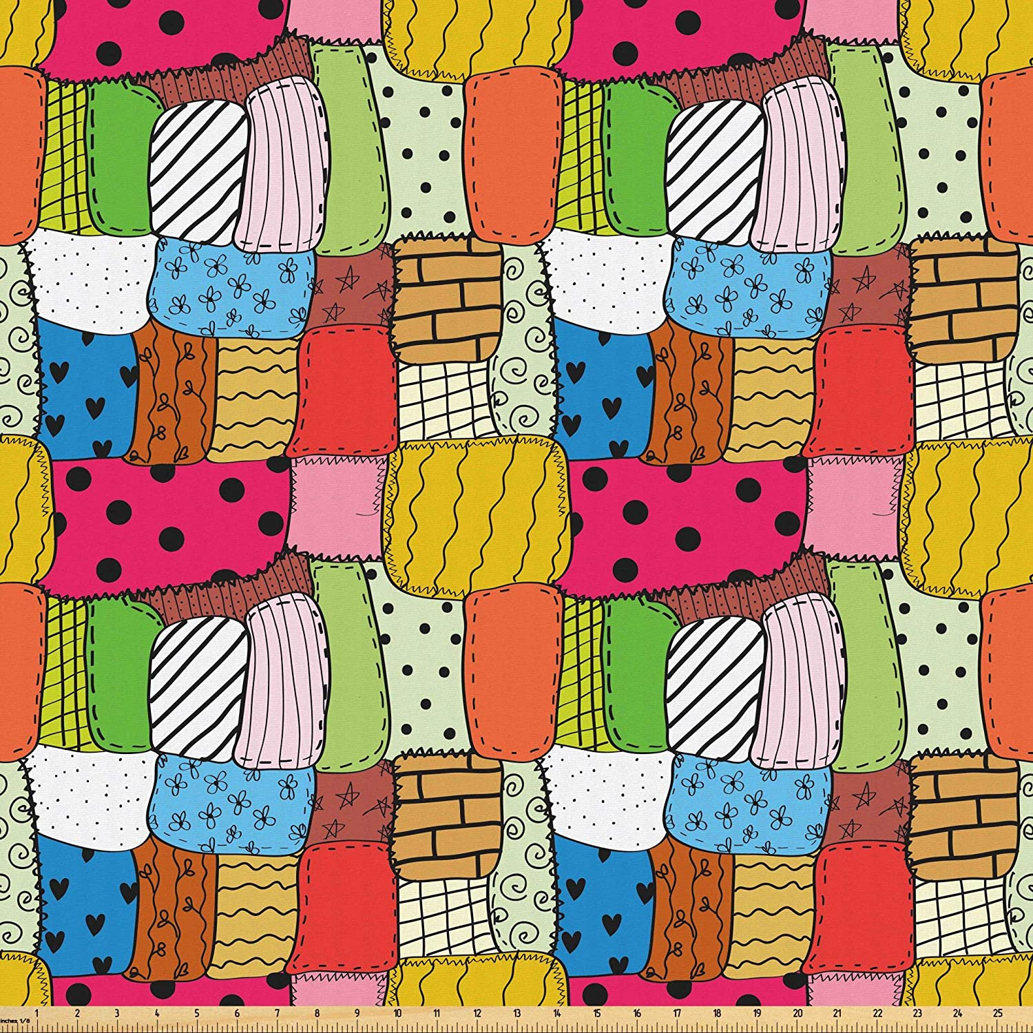 Lunarable Geometric Fabric by The Yard, Needlework Hobby Theme Lively Colored Quilt Pattern with Different Random Pieces, Microfiber Fabric for Arts and Crafts Textiles & Decor, 1 Yard, Multicolor