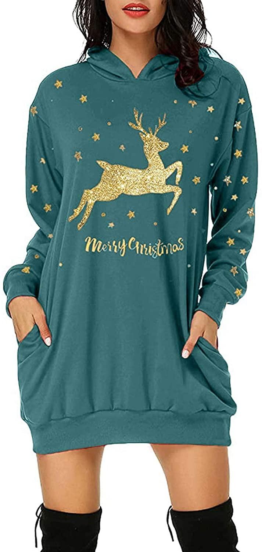 Fineday Women's Dress, Women's Fashion Christmas Hoodie Bag Hip Pocket Print Hoodie Fashion Dress, Clothes for Women