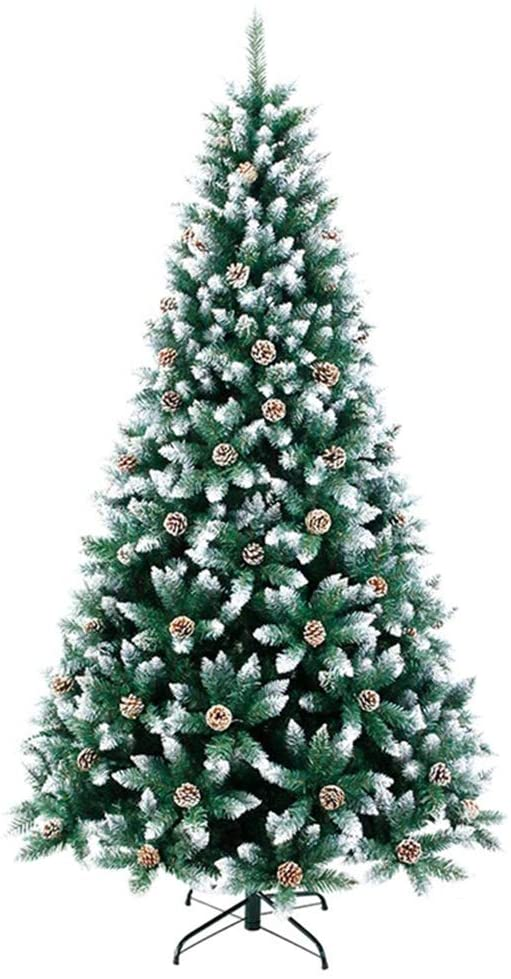 /N Artificial Christmas Pine Tree PVC Artificial Christmas Tree with Pine Cones LED String Lights, Snow Flocked Xmas Tree for Indoor Outdoor Decoration, Foldable Metal Stand Hinged Christmas Tree 6ft