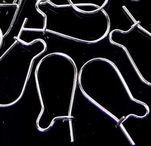 (50 Earings) 16x8mm Silver Plated Kidney Interchangeable Ear Wire Earings Hooks
