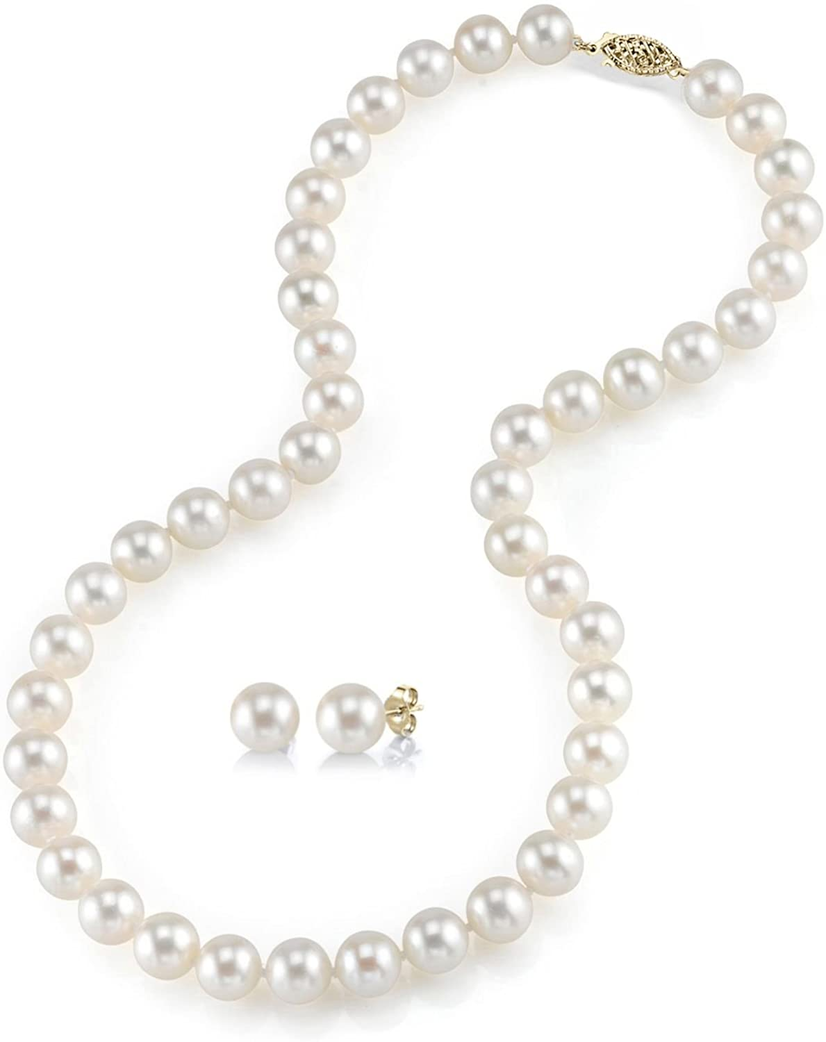 THE PEARL SOURCE 14K Gold 7-8mm Round White Freshwater Cultured Pearl Necklace & Earrings Set in 16